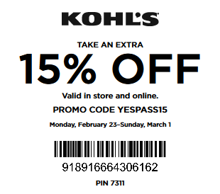 New Yes Pass Coupon February 2015 - 15% Off any purchase